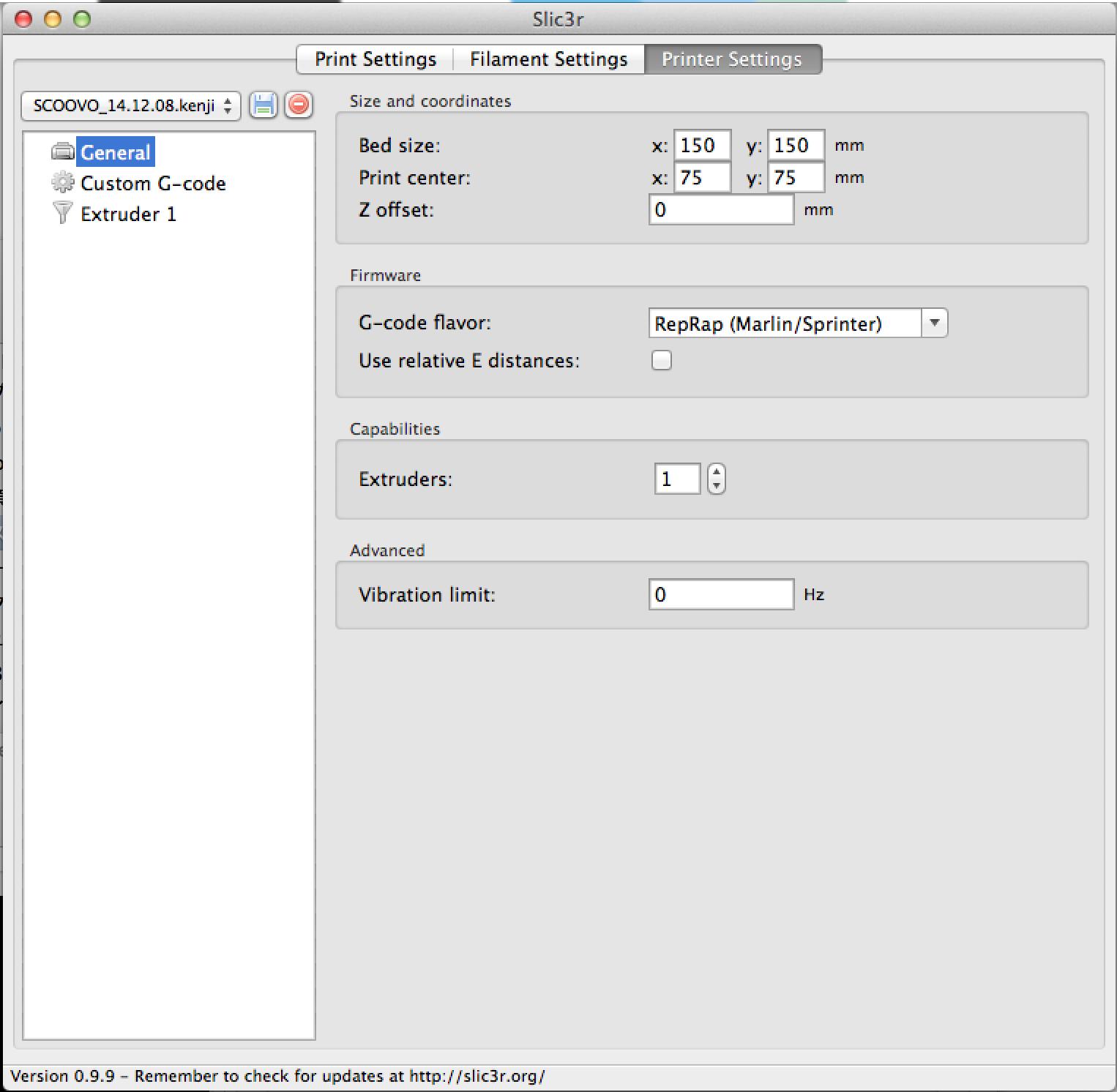 Repetier-Hostの温度設定 – Lunran Studio